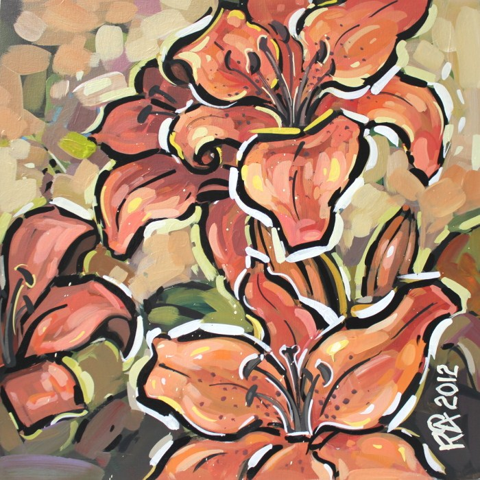 """Tiger Lily abstraction 1"" original fine art by Roger Akesson"