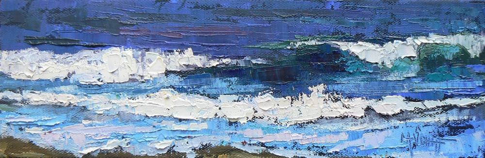 """Daily Painting, Seascape, Pacific Blue 4x12"" original fine art by Carol Schiff"
