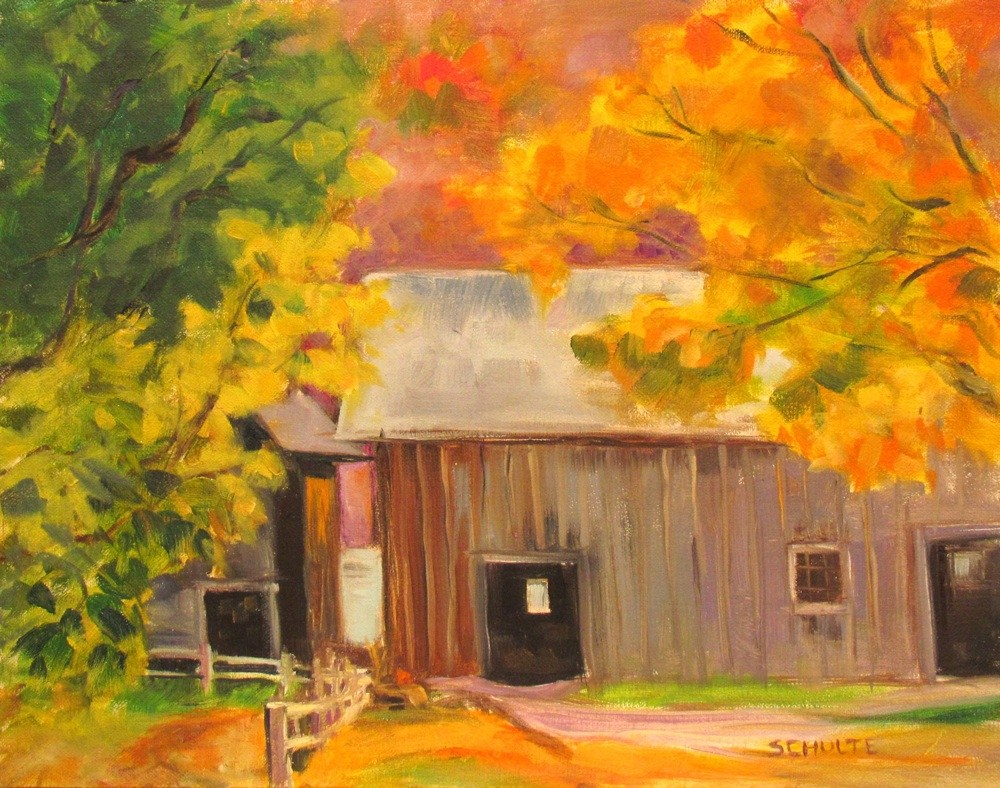 """Framed Two Barns"" original fine art by Lynne Schulte"