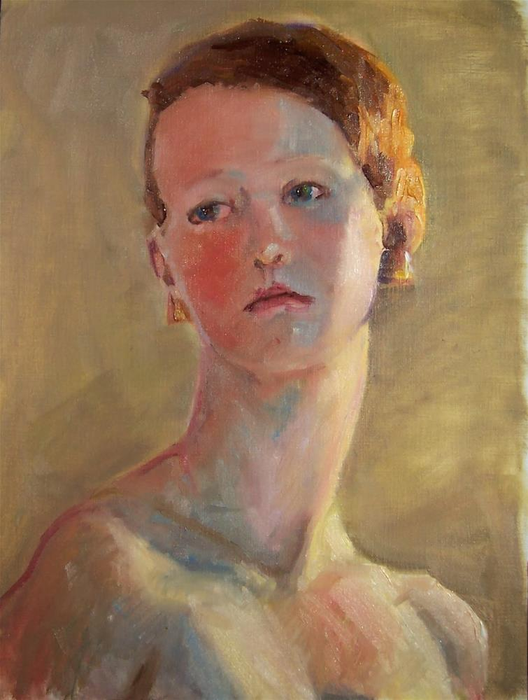 """Alethea in the Light,figure,oil on canvas16x12,priceNFS"" original fine art by Joy Olney"