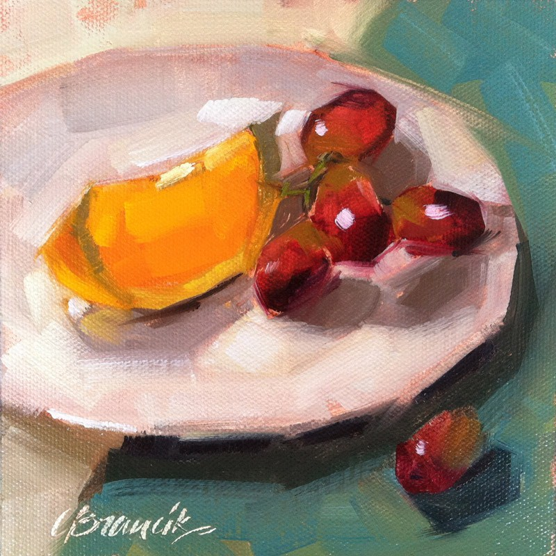 """Fruit Plate"" original fine art by Candace Brancik"
