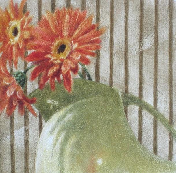 """Gerber Daisies in a Fiestaware Vase"" original fine art by Ginger Pena"