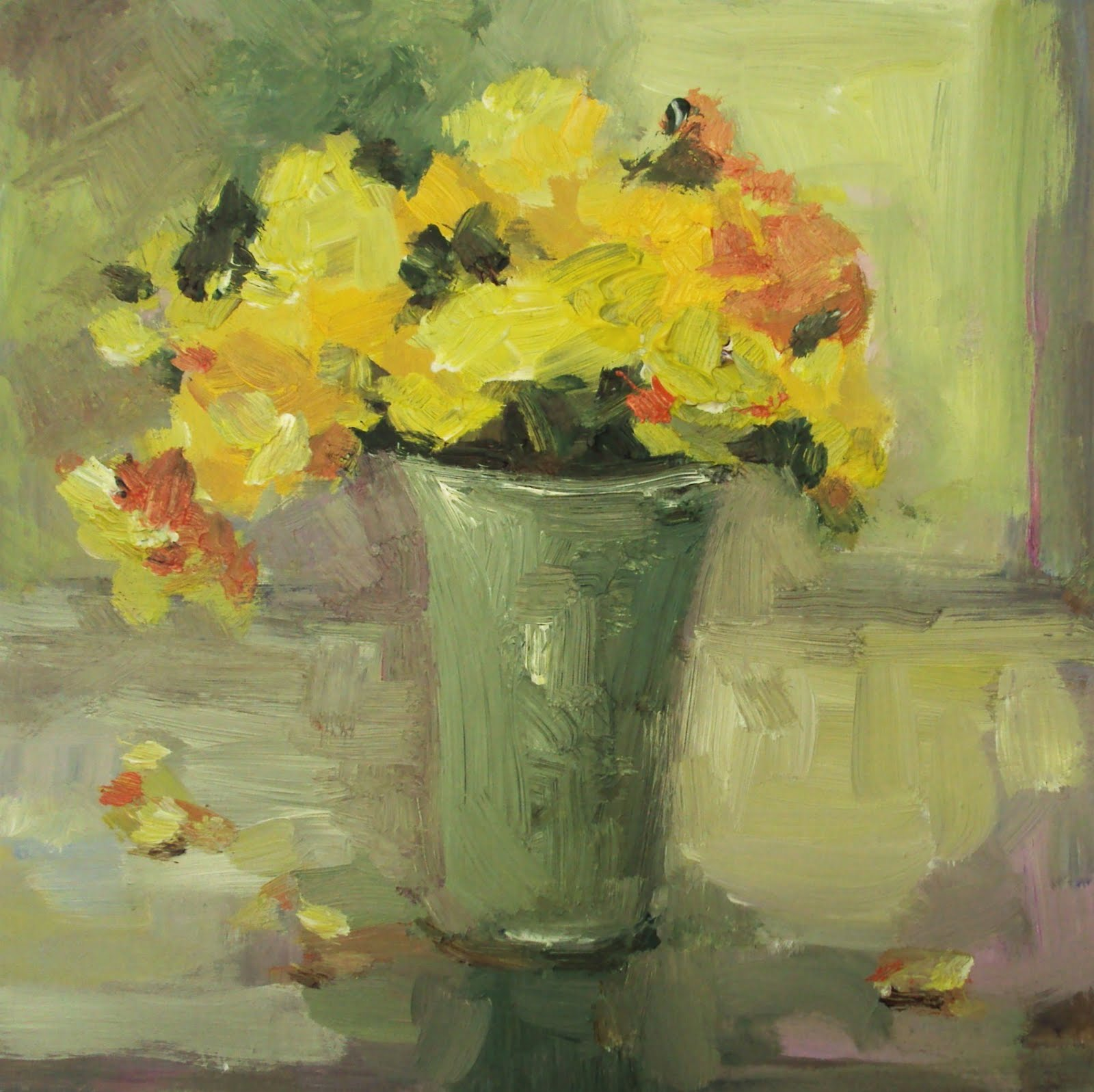 """yellow flowers"" original fine art by Parastoo Ganjei"