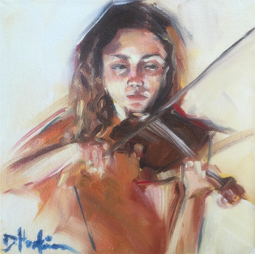 """Violinist"" original fine art by Denise Hopkins"