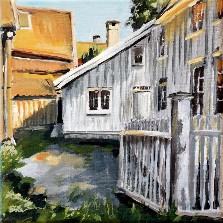 """1445 Backyard in Flekkeford"" original fine art by Dietmar Stiller"