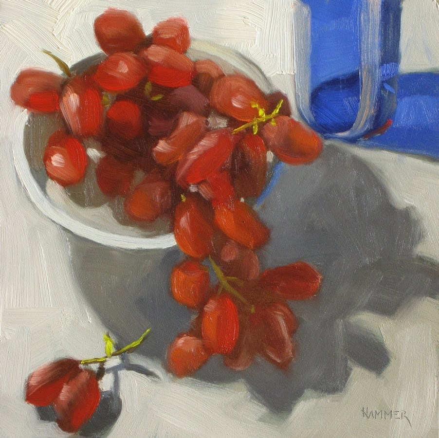 """Too big for your bowl!  6x6  oil"" original fine art by Claudia Hammer"