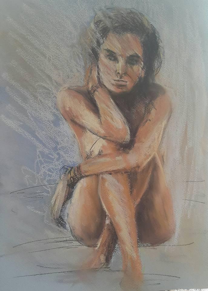 """Pastel nude"" original fine art by Rentia Coetzee"