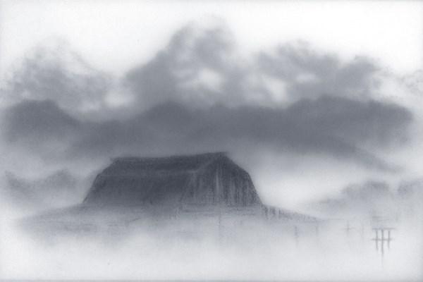 """Barn in the Fog"" original fine art by Terri Heinrichs"