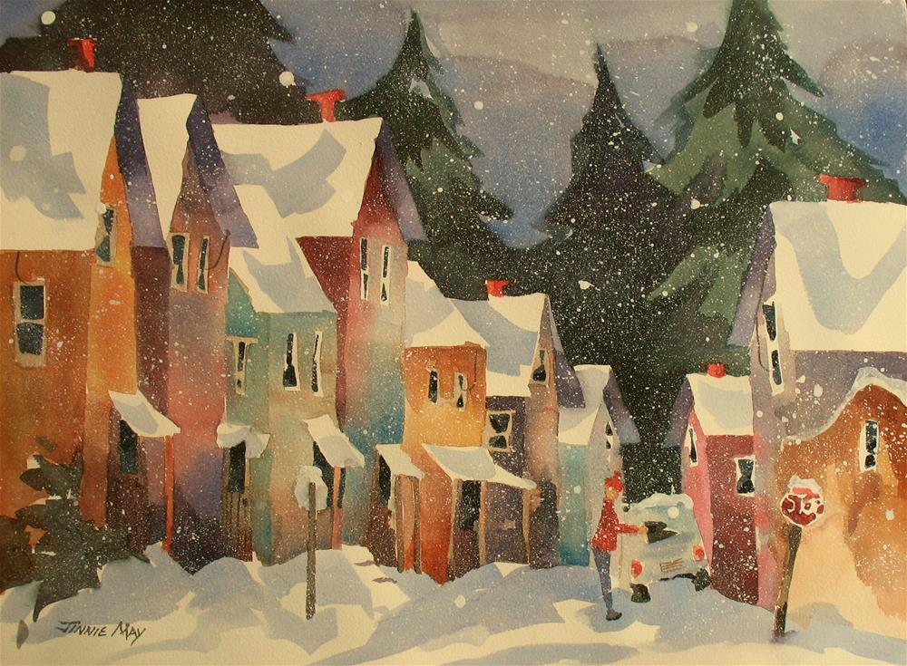 """Rockland ME in Winter"" original fine art by Jinnie May"
