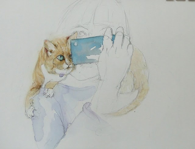 """Cat selfie"" original fine art by Mitsuru Cope"