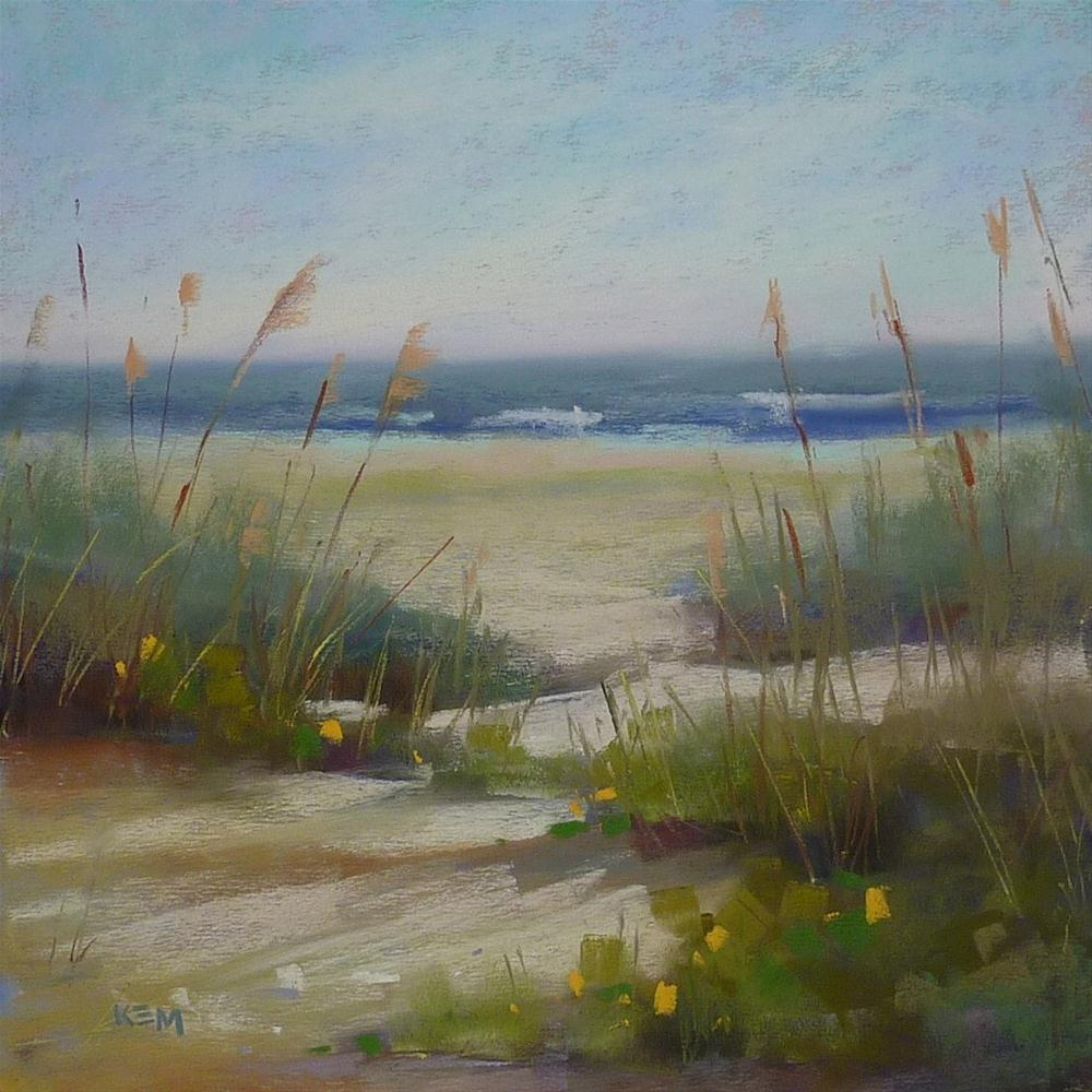 """D is for Demo Day...Pastel Beach Painting"" original fine art by Karen Margulis"