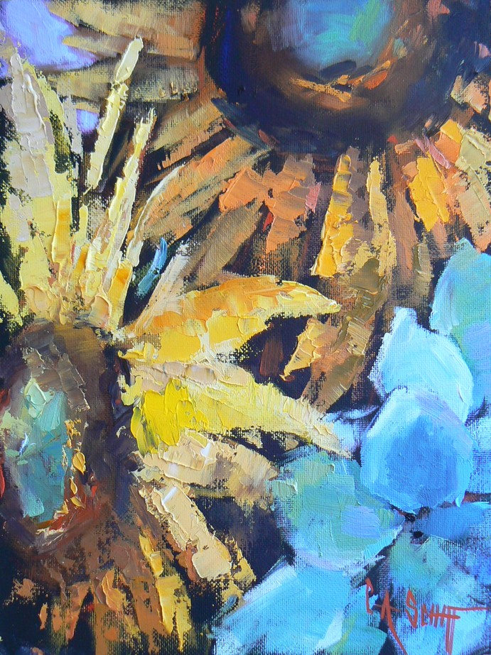 SUNFLOWER DANCE, 8X6, OIL original fine art by Carol Schiff