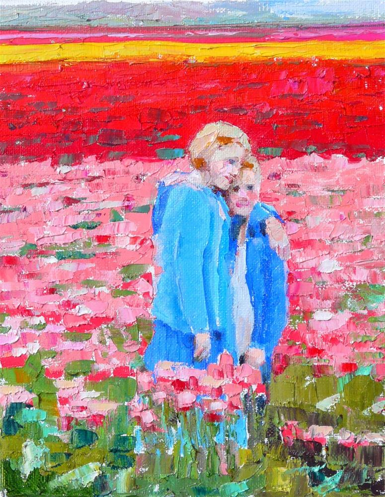 """Sibling Love,figure,oil on canvas,10x8,price$300"" original fine art by Joy Olney"