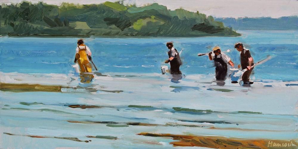 """Crabbing at Low Tide"" original fine art by Gretchen Hancock"