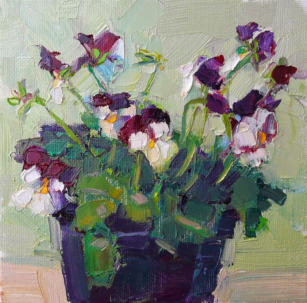 """Dancing Violas,still life,oil on canvas,6x6,price$200"" original fine art by Joy Olney"