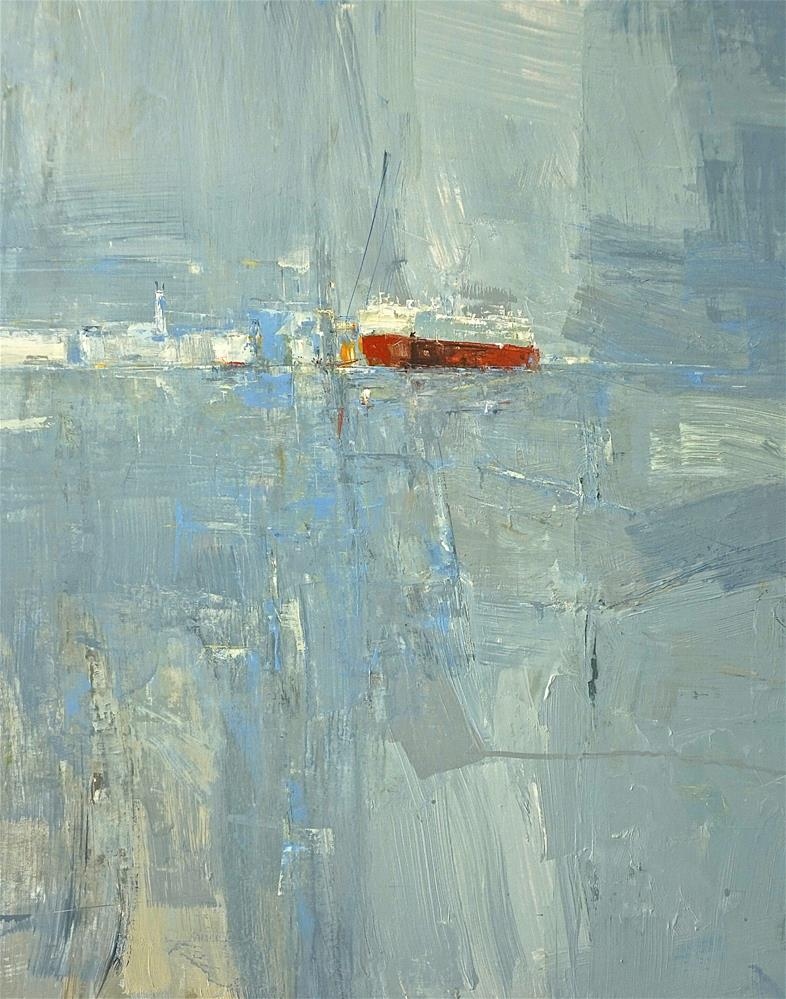 """Red Ship 30x24oil 2016"" original fine art by Deborah R Hill"