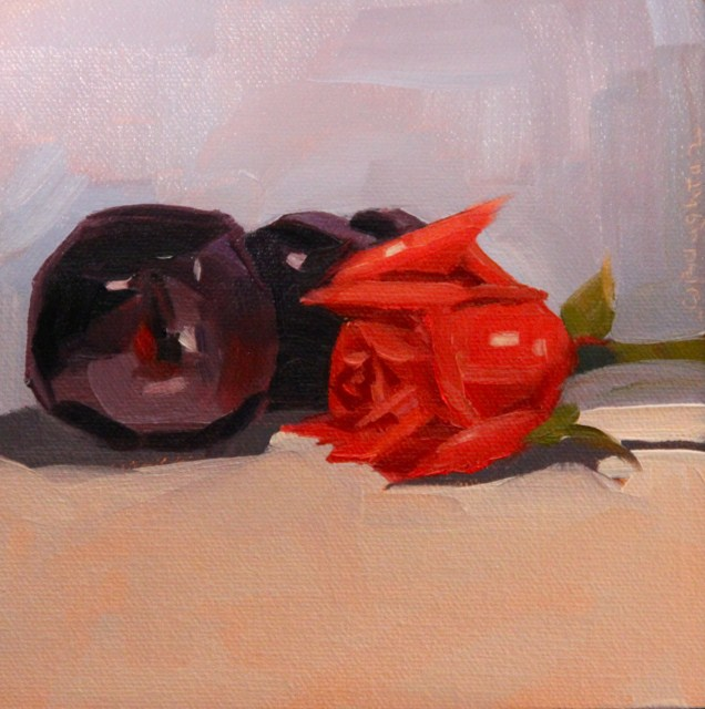 """Plums And Roses"" original fine art by C J Roughton"