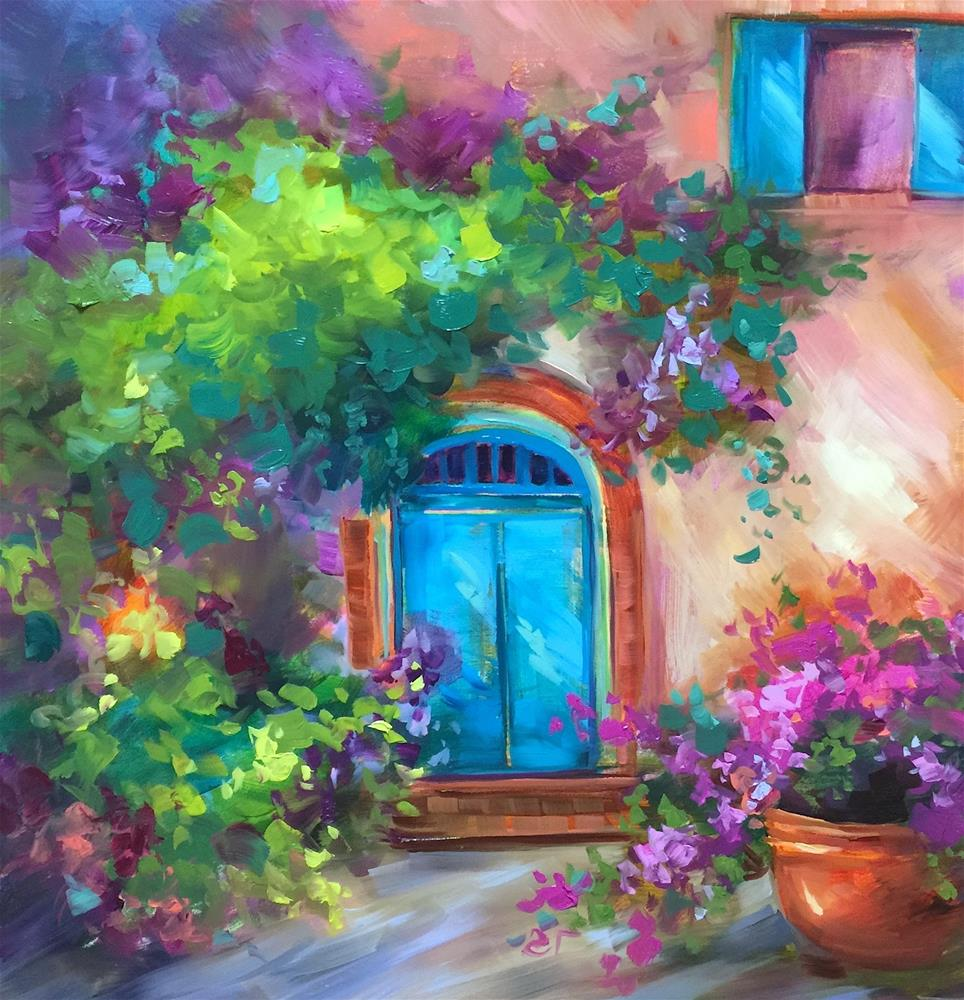 """Bougainvillea Cottage - Nancy Medina Art Videos and Classes"" original fine art by Nancy Medina"