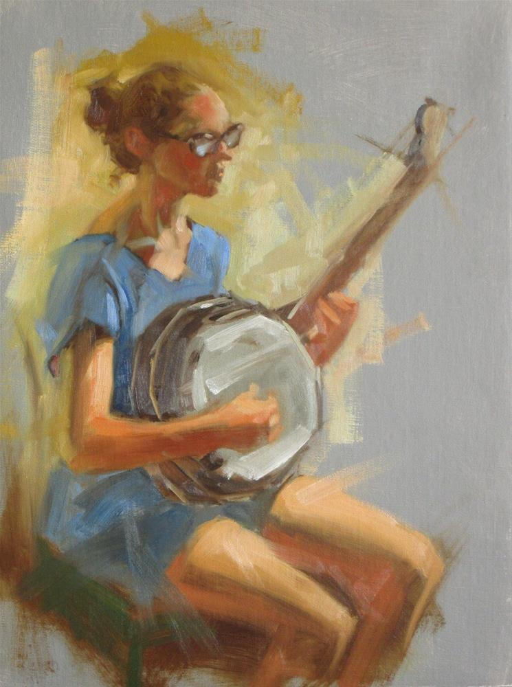 """Banjo player  16in x 12in  oil"" original fine art by Claudia Hammer"
