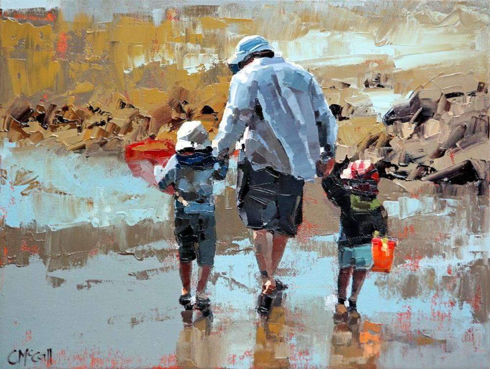 """Dad & The Boys III"" original fine art by Claire McCall"