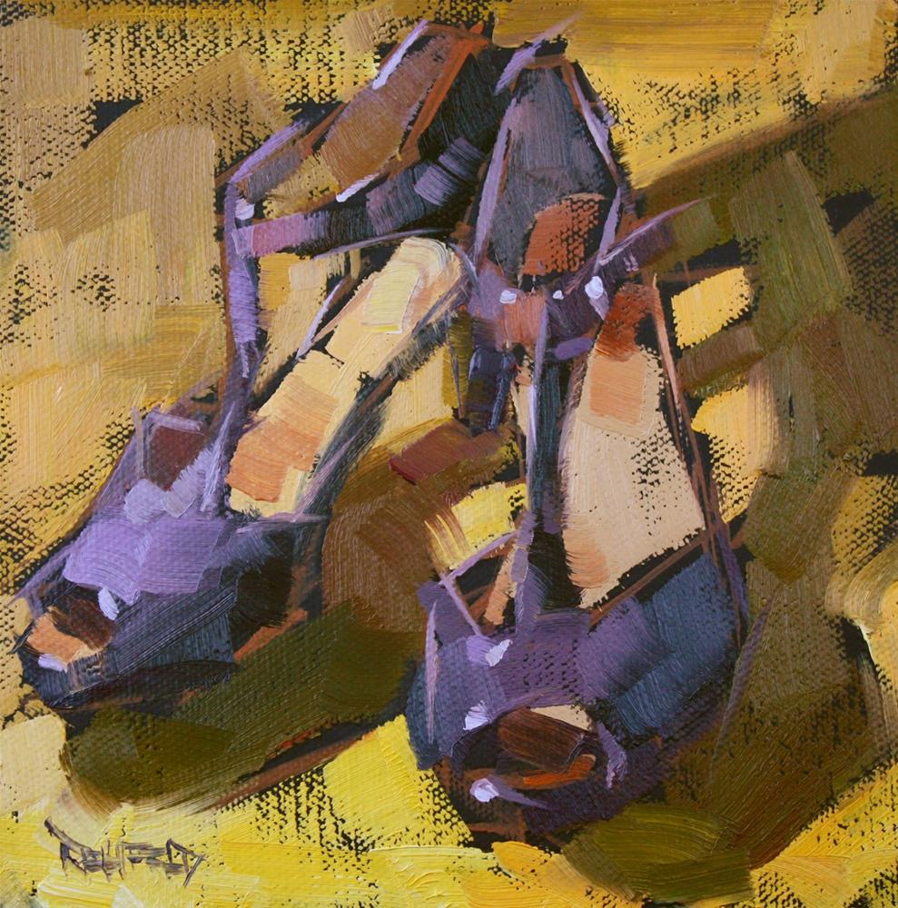 """Shoe Fiend! #5 Purple and Yellow"" original fine art by Cathleen Rehfeld"