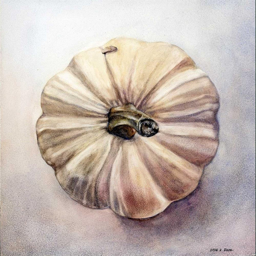 """White Pumpkin"" original fine art by Kara K. Bigda"
