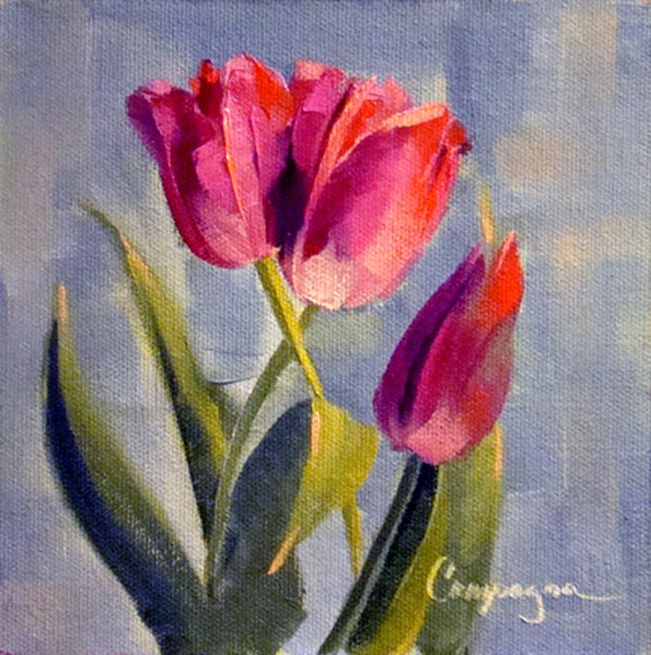 """""""Two plus One Tulips"""" original fine art by Roseanne Campagna"""