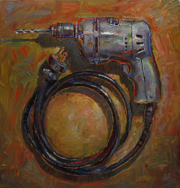 """Dad's Drill"" original fine art by Raymond Logan"