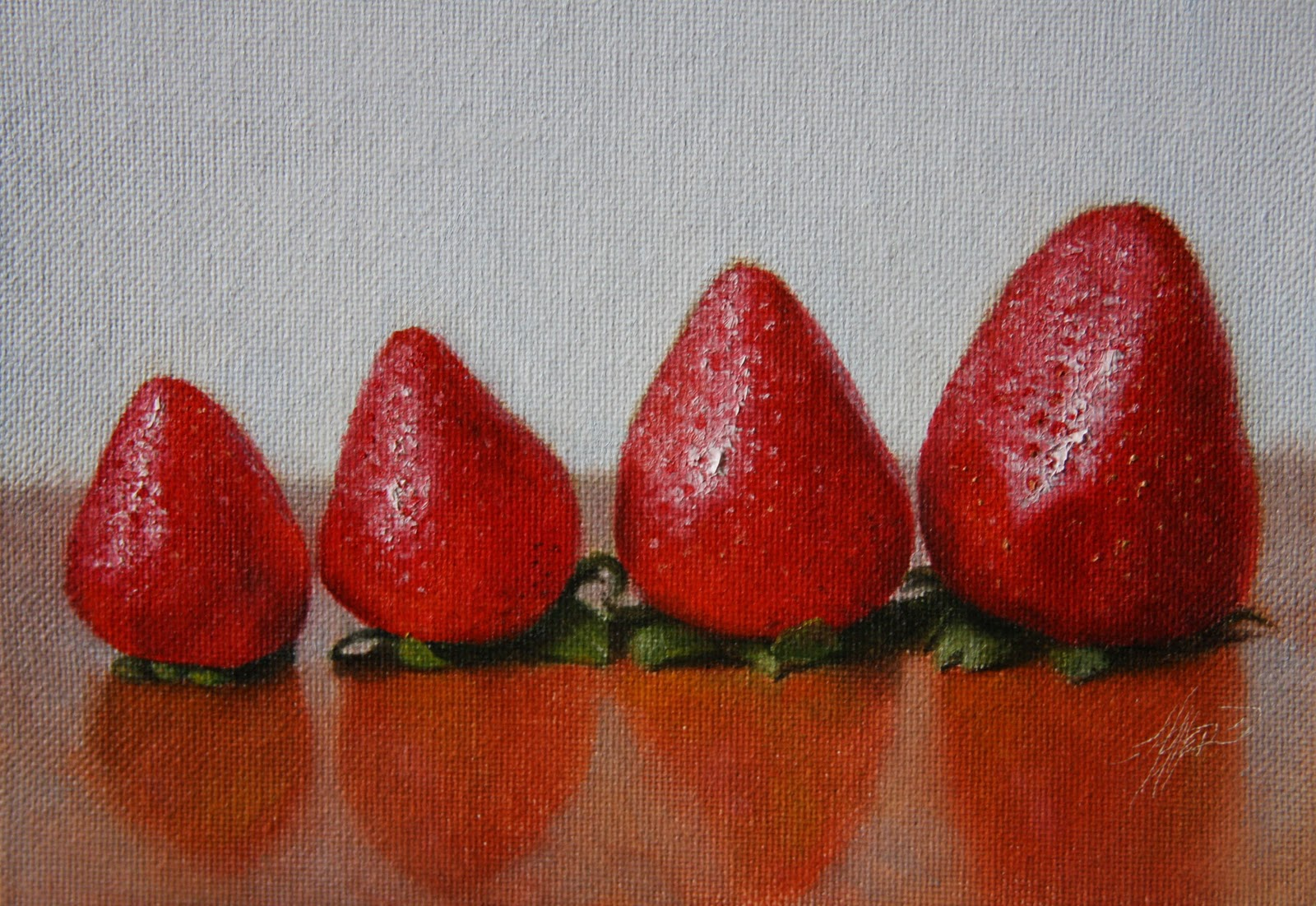 """Strawberries Aligned"" original fine art by Jonathan Aller"