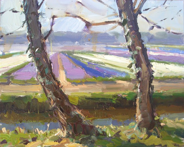 """Landscape spring #4 Purple and white field and ivy-grown trees"" original fine art by Roos Schuring"