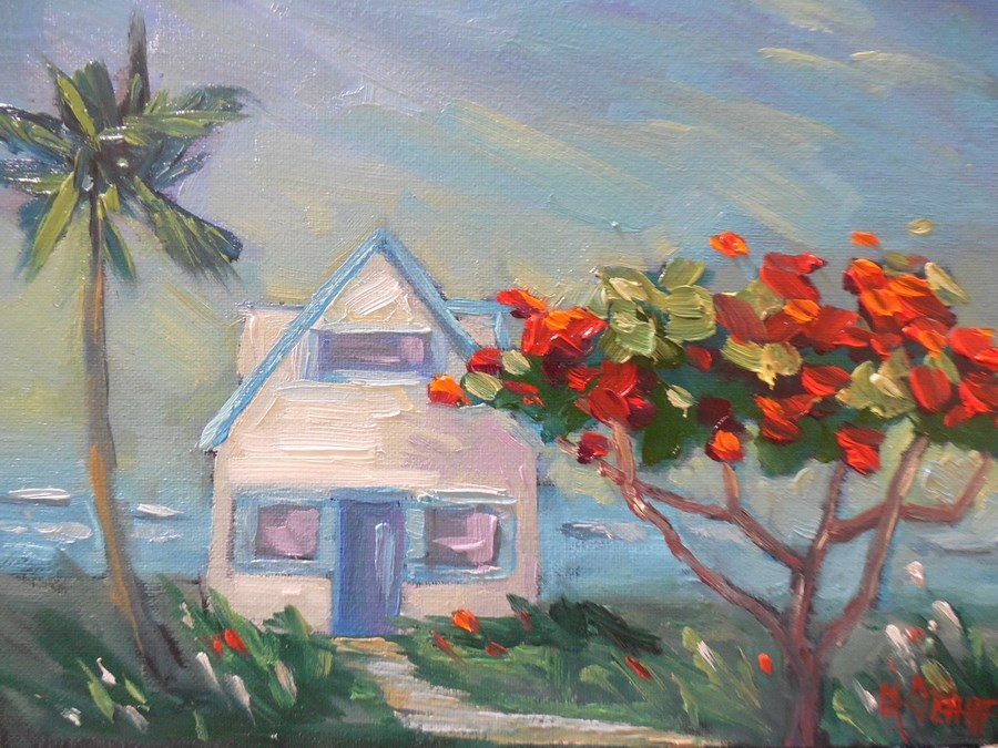 """Daily Painting, Painting for Sale, Small Oil Painting, Tropical Landscape Painting, 6x8 Oil"" original fine art by Carol Schiff"