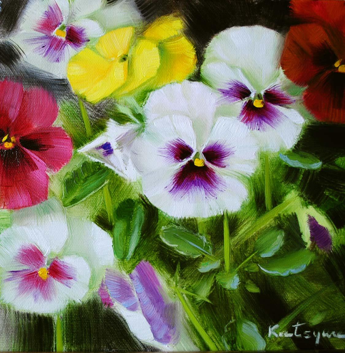 """Pansies II"" original fine art by Elena Katsyura"
