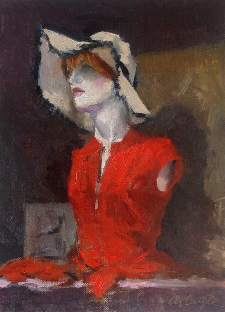 """Mannequin with red dress"" original fine art by Christine Bayle"