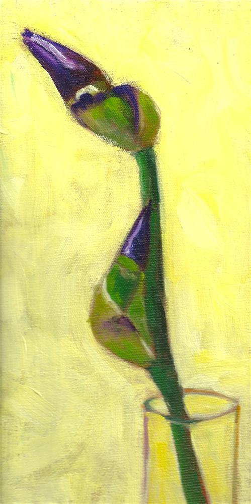 """Two Iris Buds"" original fine art by Marlene Lee"