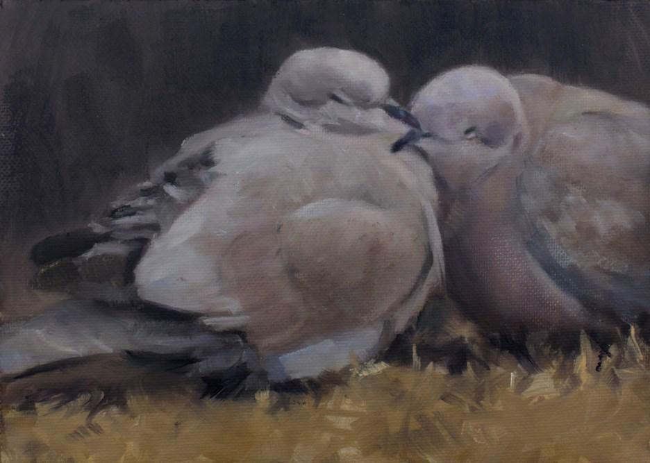 """Sleepy Pair"" original fine art by Pamela Poll"