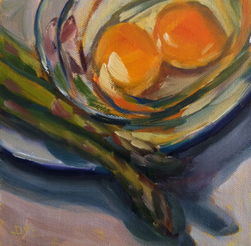 """""""Eggs and Asparagus, oil on canvas board, 6x6"""" original fine art by Darlene Young"""