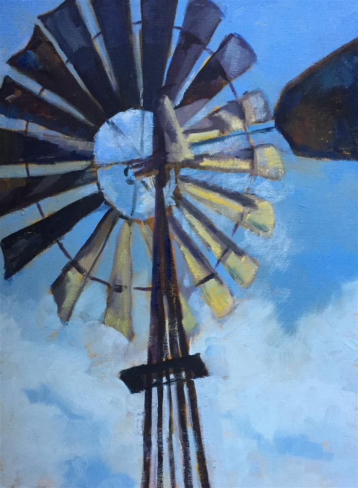 """Windmill On the Plains"" original fine art by Pam Holnback"