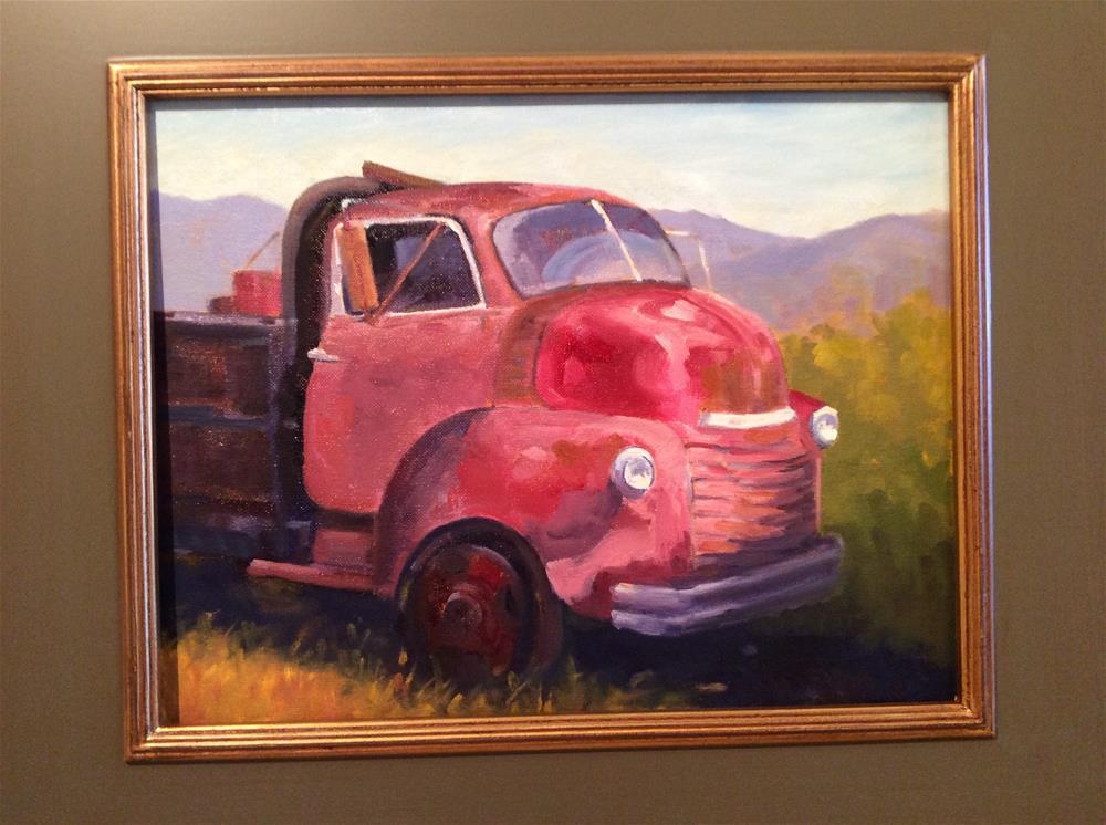 """""""Carnation Truck"""" original fine art by Leigh Alexandra Sparks"""