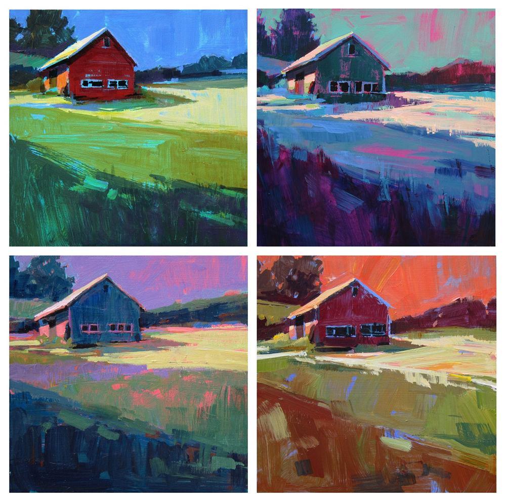 """""""1. Green Field /Blue Sky 2. Blue Field / Green Sky 3. Blue Field / Lavender Sky 4. Gold Field / Coral Sky"""" original fine art by Patti Mollica"""