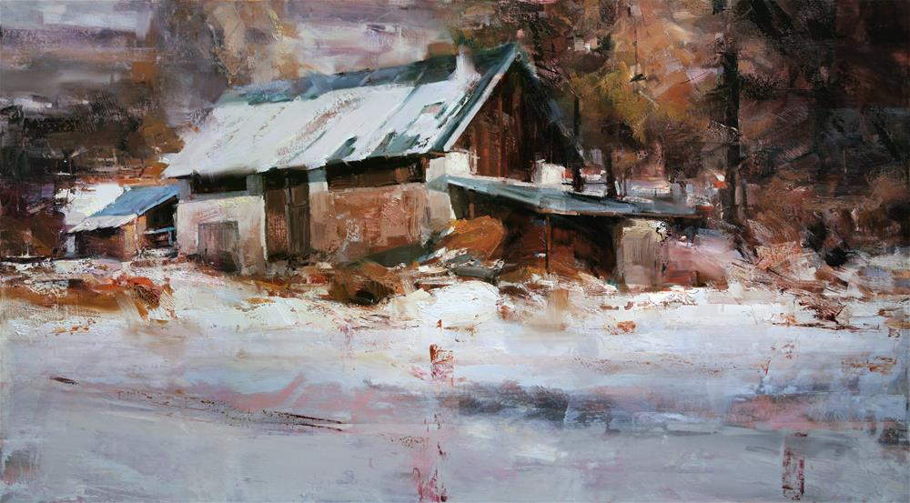 """Winter Barn"" original fine art by Tibor Nagy"