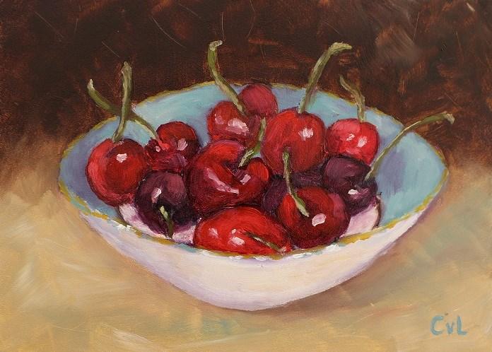 """""""Cherries in a bowl"""" original fine art by Conny van Leeuwen"""