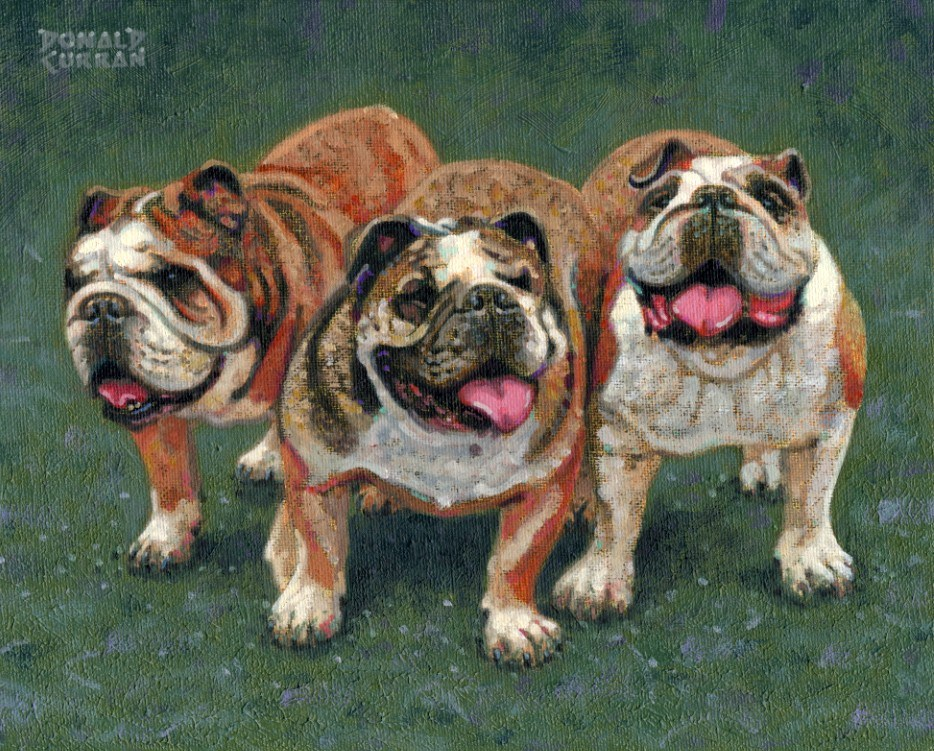 """Bulldog Buddies"" original fine art by Donald Curran"