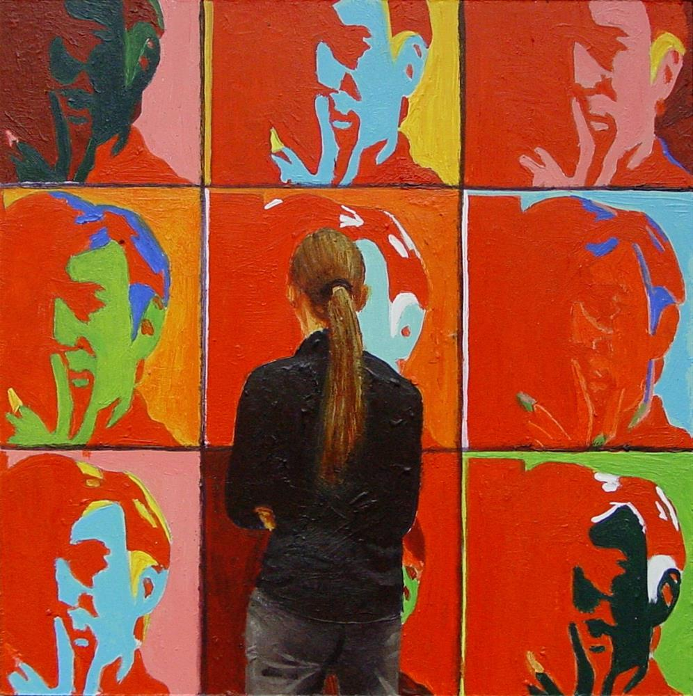 """Red Andy- Painting Of Man Enjoying Self Portrait By Andy Warhol"" original fine art by Gerard Boersma"