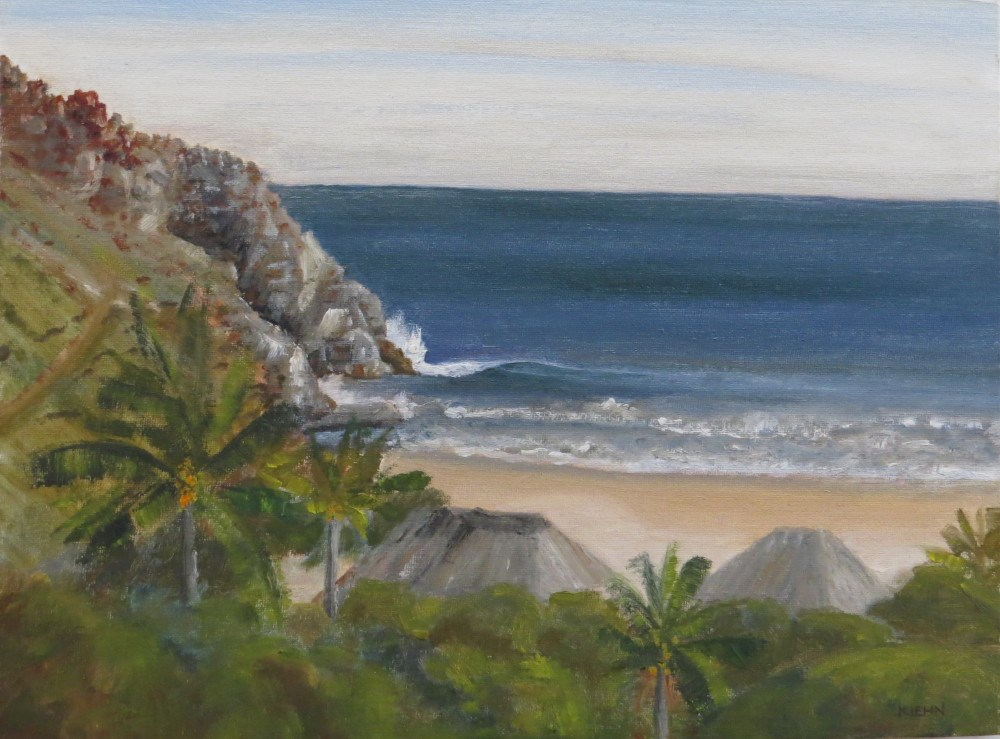 """Beachfront Bungalows"" original fine art by Richard Kiehn"