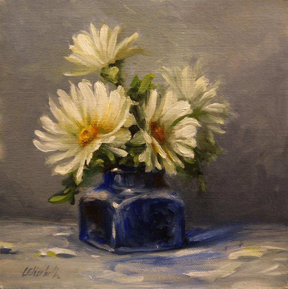 """Daisies in Cobalt Ink Bottle, Oil on 6x6 Linen Panel"" original fine art by Carolina Elizabeth"