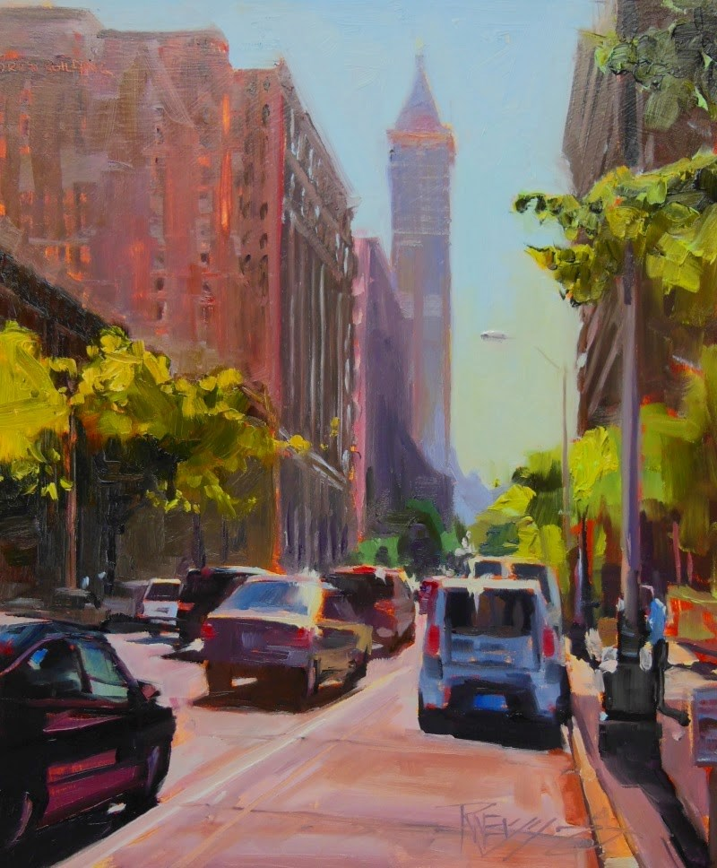 """Smith Tower Morning  Seattle, cityscape, oil painting by Robin Weiss"" original fine art by Robin Weiss"