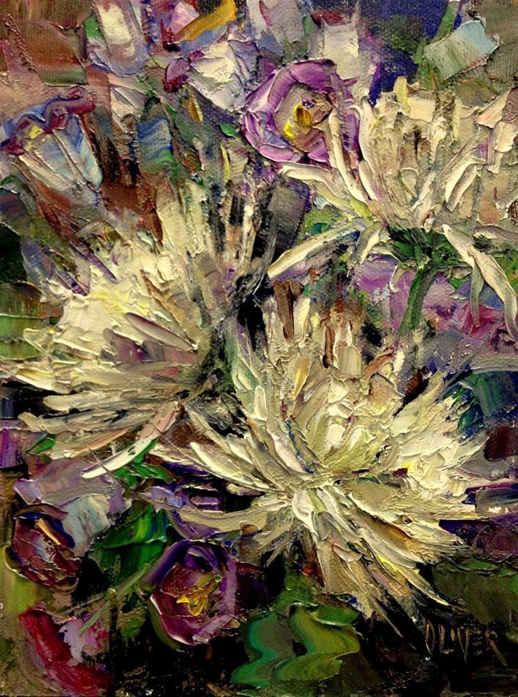 """Birthday Flowers - Spider Mums"" original fine art by Julie Ford Oliver"