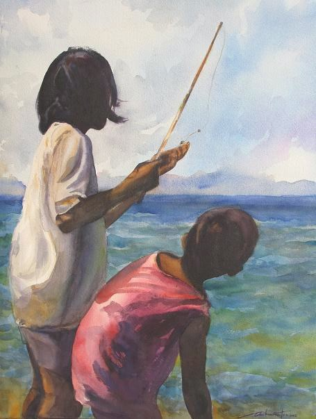 """Fishing Expedition"" original fine art by Ann Buenaventura"