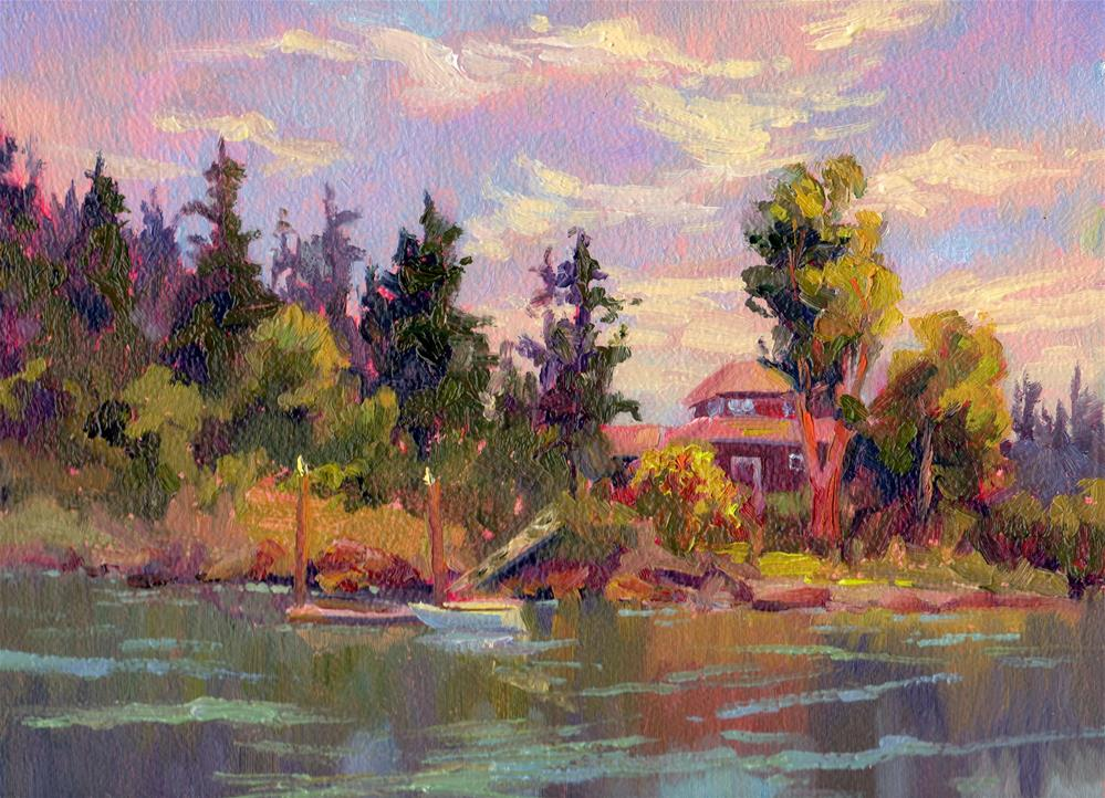 """RIVERSIDE HOME"" original fine art by Karen E Lewis"