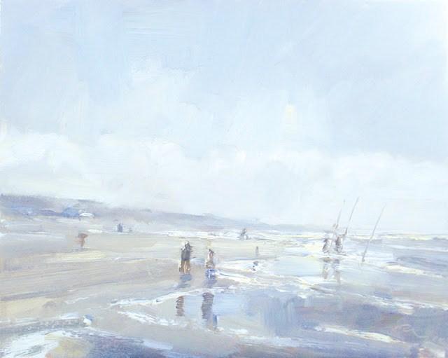 """Seascape winter #37 Fishermen and spring light"" original fine art by Roos Schuring"